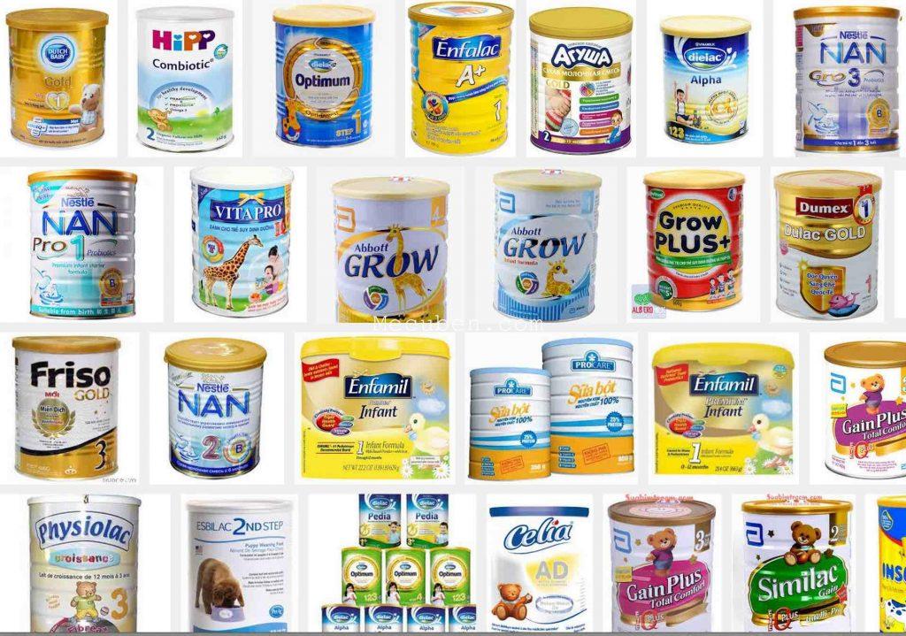 các loại sữa bột cho bé
